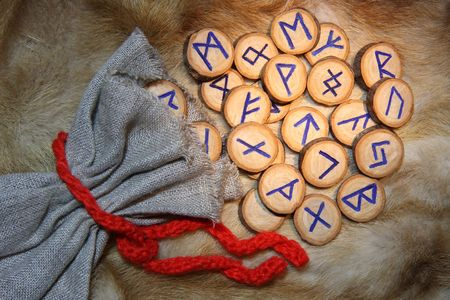 Handmade wooden runes with pouch photo
