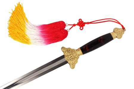 gripe: Tai Chi sword with tassel isolated on white