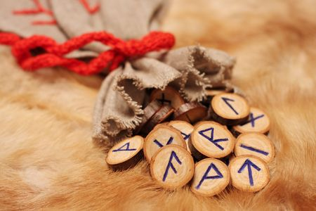 Runes with pouch on the fur, with copy space photo