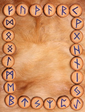 runes: frame of runes on the background of fur, set in alphabetical order futhark