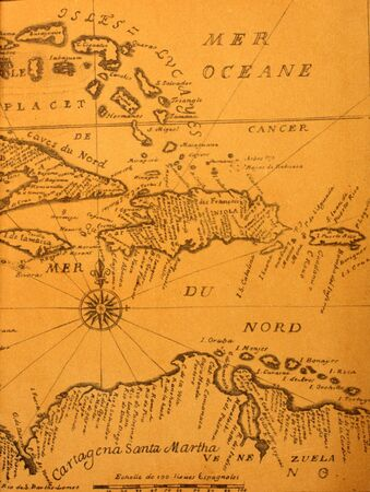 basin: hand-written ancient map of Caribbean basin from the book of 1678 Stock Photo