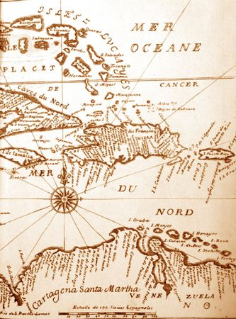 ancient map: handwritten ancient map of Caribbean basin from the book of 1678