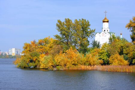 dnepr: Church on the river Dnepr in Dnepropetrovsk, Ukraine