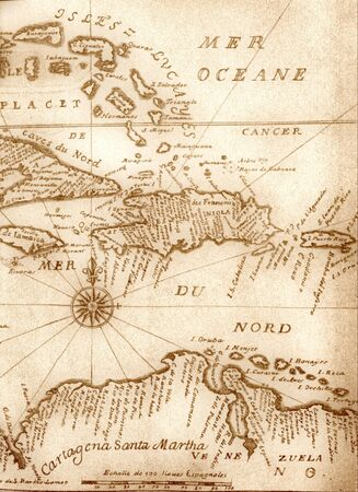 Caribbean sea: handwritten ancient map of Caribbean basin from the book of 1678
