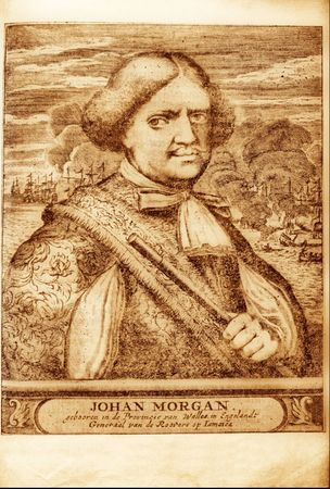 violent: picture of well-known British pirate Henry Morgan from the book of 1678