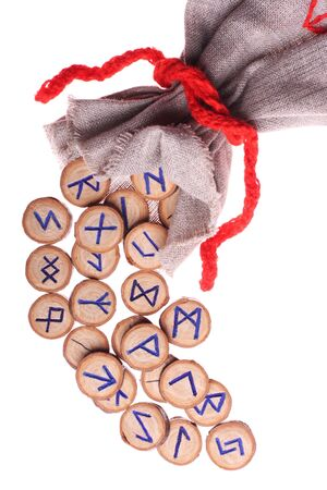 runes and pouch isolated on white background