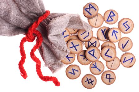 runes and pouch isolated on white background photo