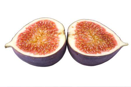 purgative: fresh halved fig isolated on white background