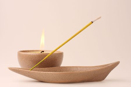 ладан: Candle and incense stick in pastel shades