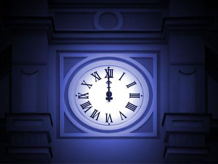 reloj antiguo: Antiguo reloj de la torre que est� en doce Foto de archivo