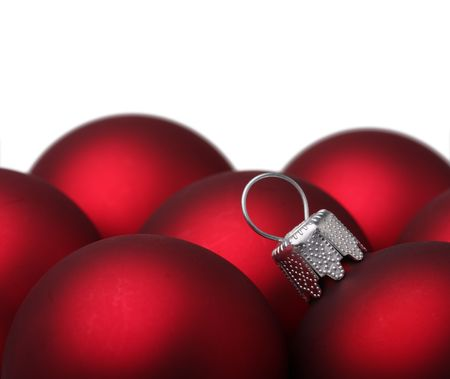 Christmas balls on white background. Shallow depth of field. photo