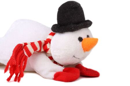 newyears: Cute snowman isolated on white background