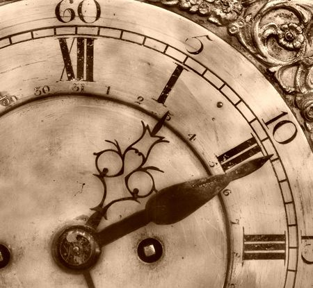 Close-up of antique clock of the eighteen century photo
