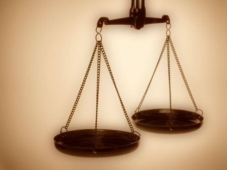 Justice scales sepia toned