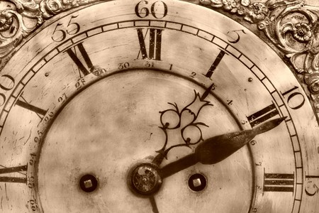 epoch: Close-up of antique clock of the eighteen century Stock Photo