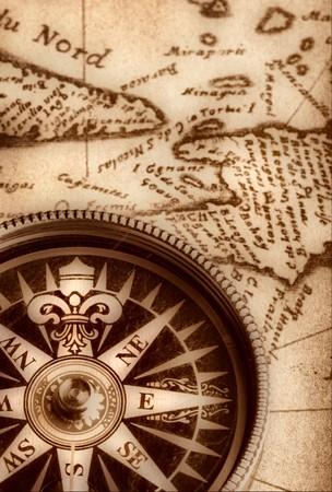 vertical orientation: Compass on old handwritten map  Stock Photo