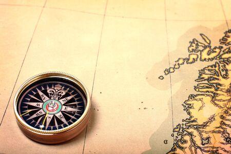scandinavian peninsula: Compass on ancient map, shallow DOF