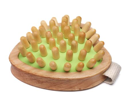 massager: Wooden massager isolated on white Stock Photo