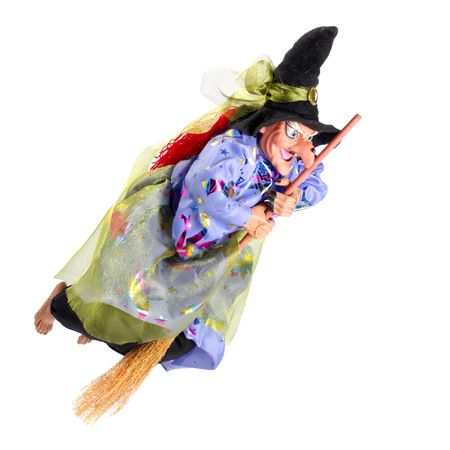 Witch on the broom isolated on white Stock Photo