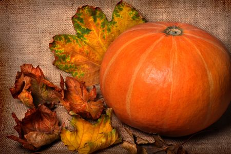 Pumpkin and fall leaves on sacking background Stock Photo - 5624186
