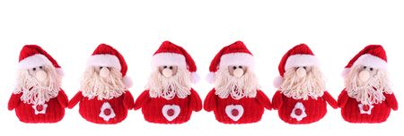 Six Santa Clauses isolated on white background Stock Photo - 5919002