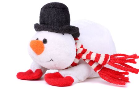 Cute snowman isolated on white background photo