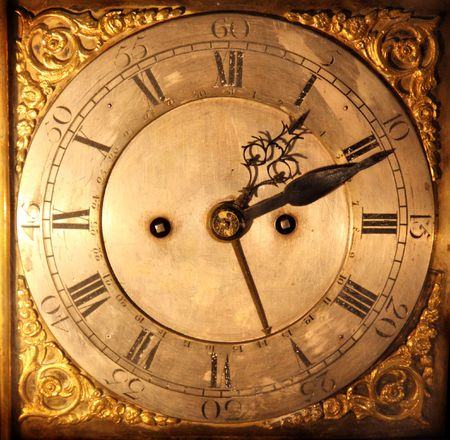 eighteen: Close-up of antique clock made in the eighteen century Stock Photo