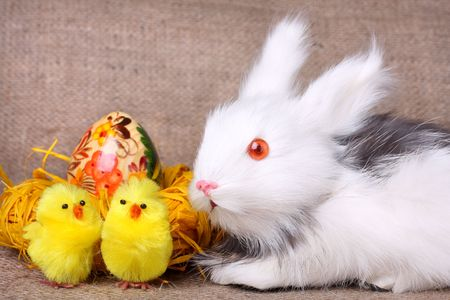 Cute bunny, easter egg and chickens on sacking background photo