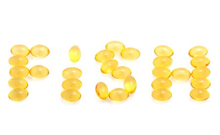 Fish oil capsules isolated on white photo