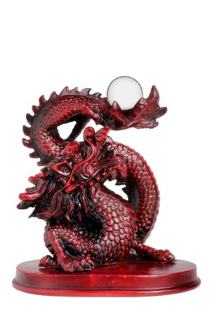 souvenir traditional: Chinese dragon with pearl isolated on white Stock Photo