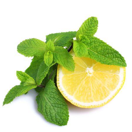 Mint and lemon isolated on white background Stock Photo