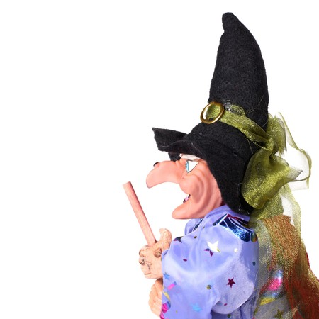 hooked: Witch with broom isolated on white background Stock Photo