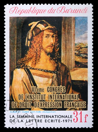 durer: A stamp printed in Republic Burundi shows a picture by Albrecht Durer Self-portrait, circa 1971. Isolated on black