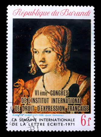 albrecht: A stamp printed in Republic Burundi shows a picture by Albrecht Durer Portrait of a Young Venetian Woman, circa 1971. Isolated on black