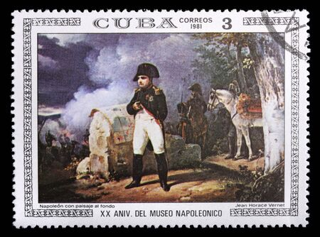 horace: A stamp printed in Cuba shows Napoleon by Jean Horace Vernet, circa 1981. Isolated on black Editorial