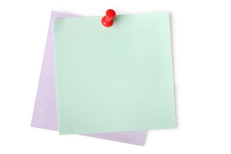 thumbtacked: Blank paper notes with red pushpin isolated on white (with light shadow) Stock Photo