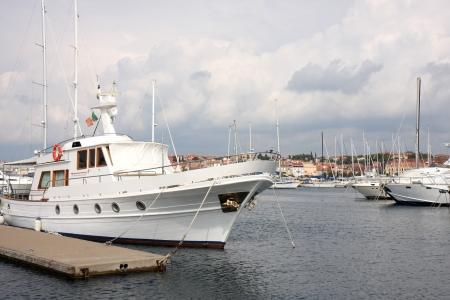 mooring: Launch at the mooring in Rovinj, Croatia