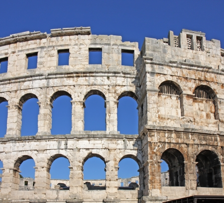 Ancient roman amphitheater in Pula, Croatia photo
