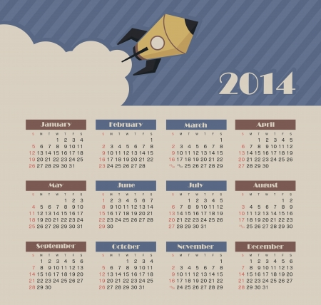 Vector calendar for 2014 Ilustrace