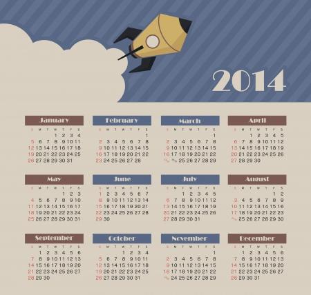 Vector calendar for 2014 Vettoriali