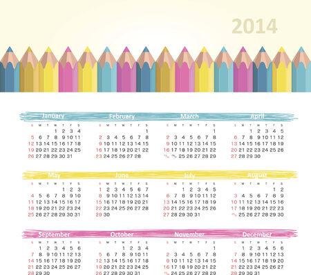 Vector calendar for 2014 Stock Vector - 23460500