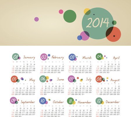 event planner: Vector calendar for 2014