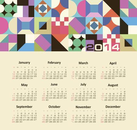Vector calendar for 2014   Vector