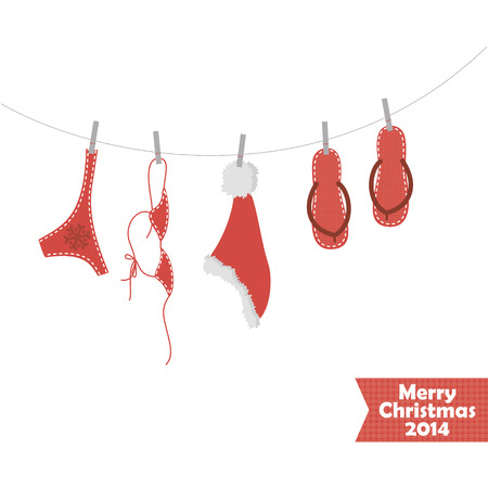 Christmas card with a picture of beach accessories Vector