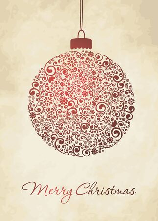 Christmas Greeting Card. Merry Christmas lettering, vector illustration Vector