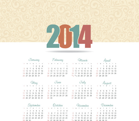 Vector calendar for 2014 eps without transparency Vector