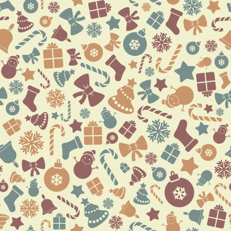 Colorful Pattern with Christmas Elements   Illustration