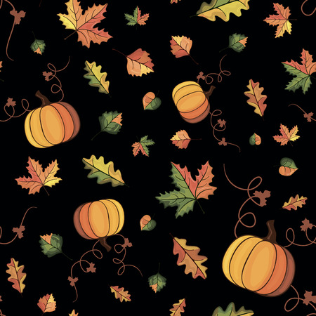 vector pattern with the image of autumn leaves on a black Vector