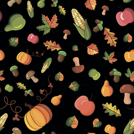 vector pattern with the image of vegetables, fruits and leaves Vector