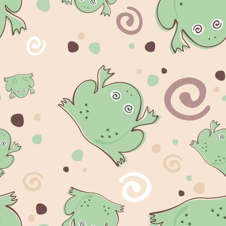 cartoon frogs in water seamless pattern   Vector